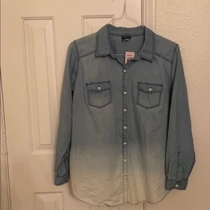 CLEARANCE/ Tie dyed denim button down shirt